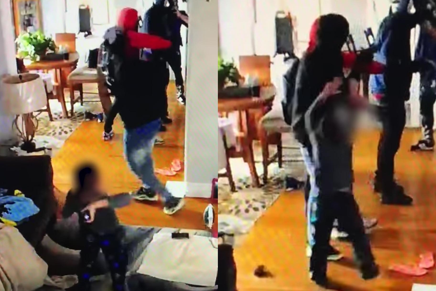 'ניסיתי לזרוק את המכונית שלי אליו': סרטון וידאו מציג צעצועים מטיחים בגיל 5 על שודדים בזמן שהם מגנים על אמא במהלך פלישת הבית
